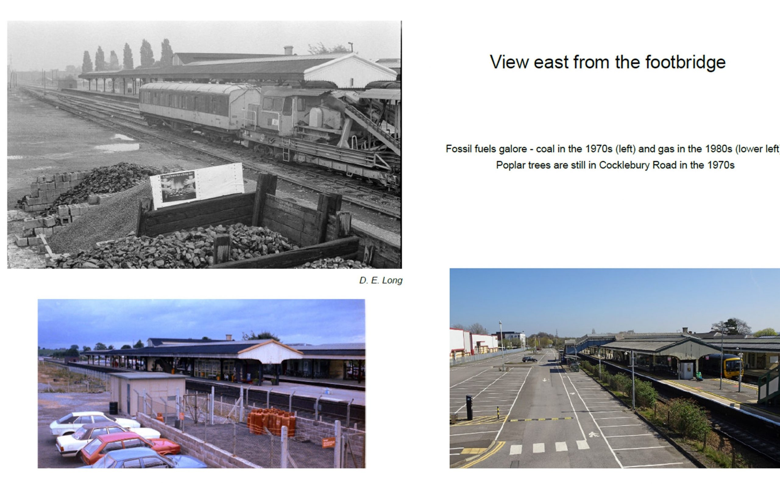 Views east from the footbridge showing the north side used to store coal, then gas and now as a car park