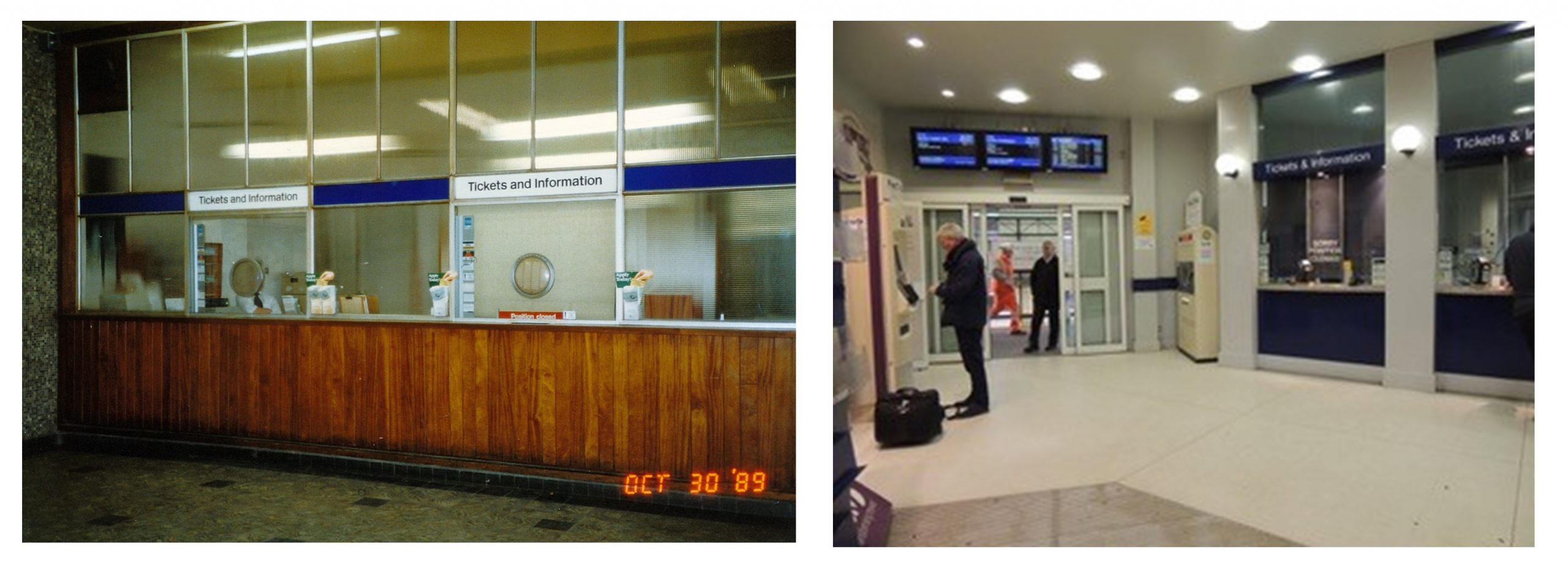 Two internal photographs of the ticket office. On the left, the ticket desk is made of wood paneling with glass windows. On the right the desk has been updated and is brighter with blue and white frontages.