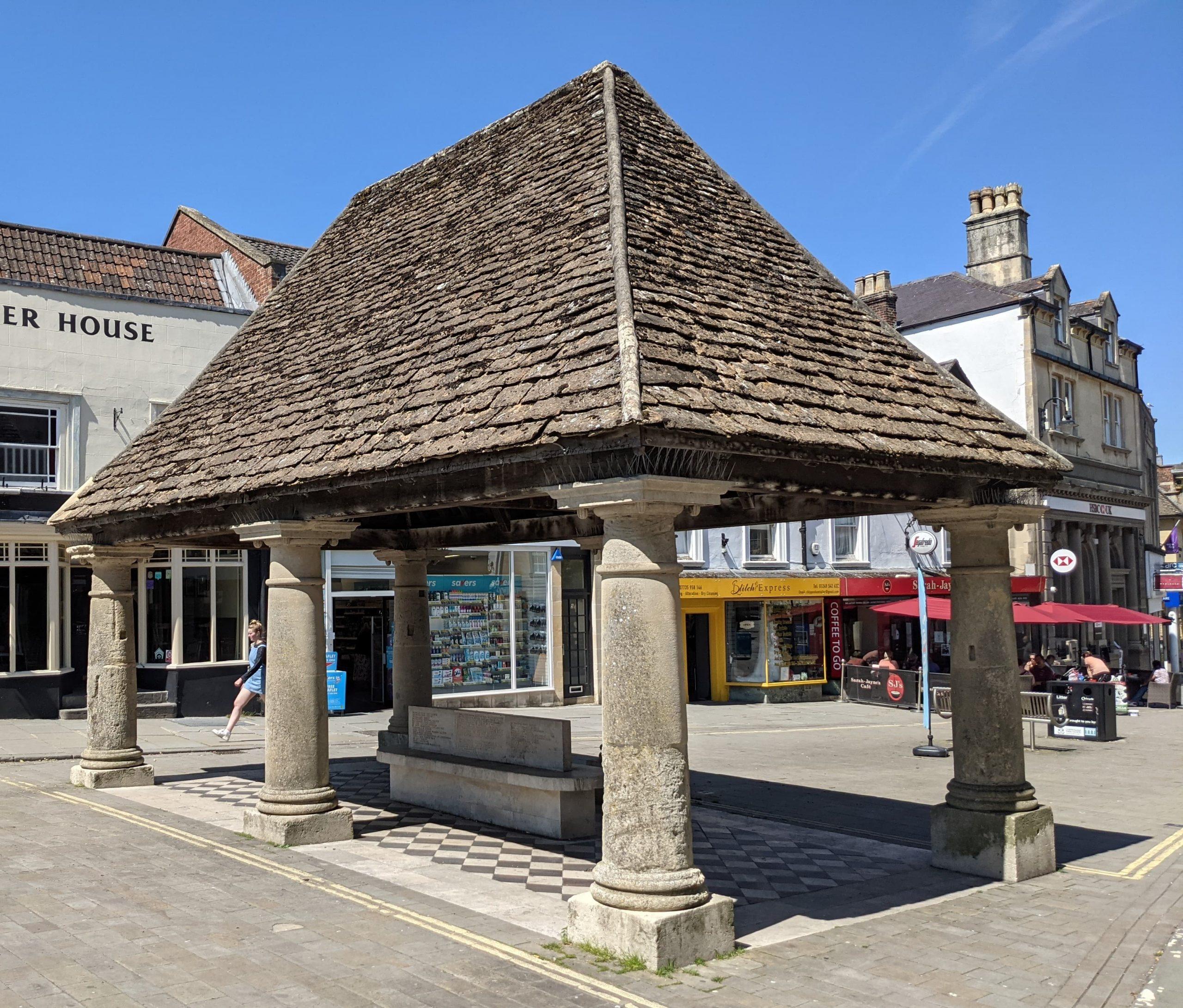 Modern image of Buttercross in Chippenham High Street