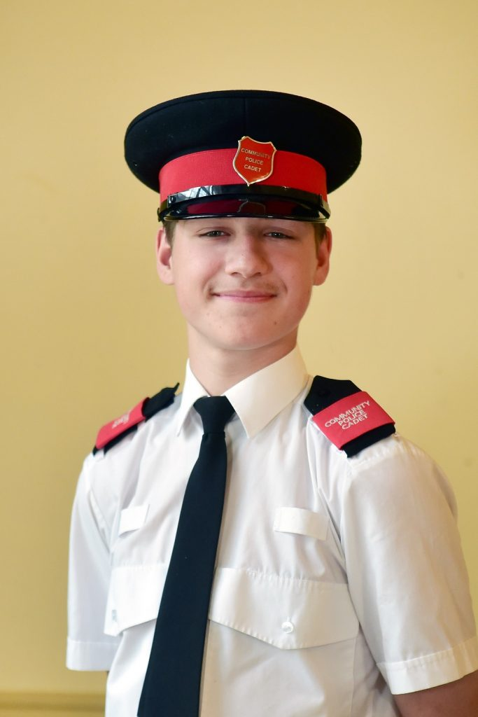 Community Police Cadet Harrison Wylie in his official uniform