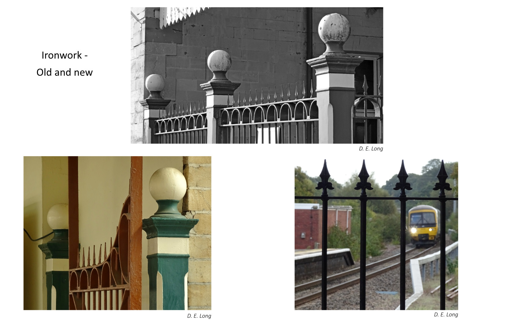 Three photographs of close up detail of ironwork at the station