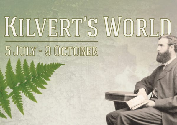 black and white photograph of a seated gentleman holding a book, a green fern leaf and wording Kilvert's World 5 July - 9 October