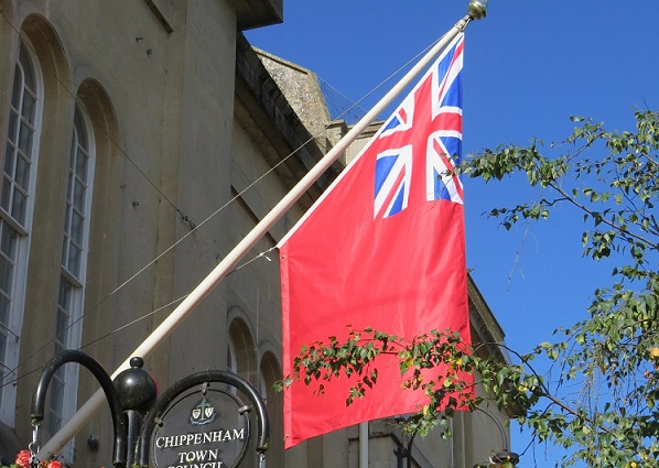 Red Ensign Flag hanging at the Town hall