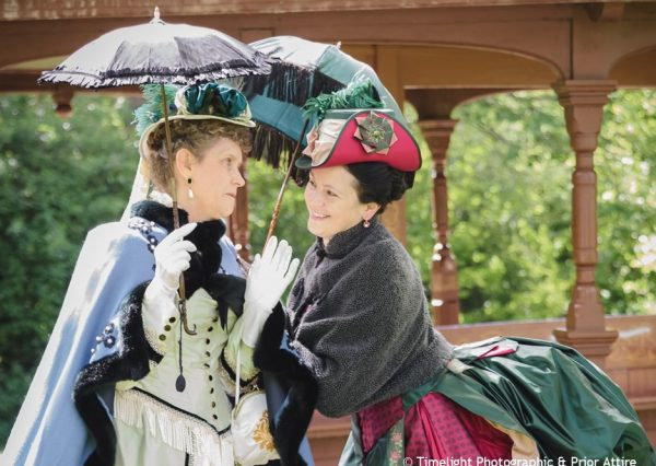 colour photograph of two ladies in Victorian costume