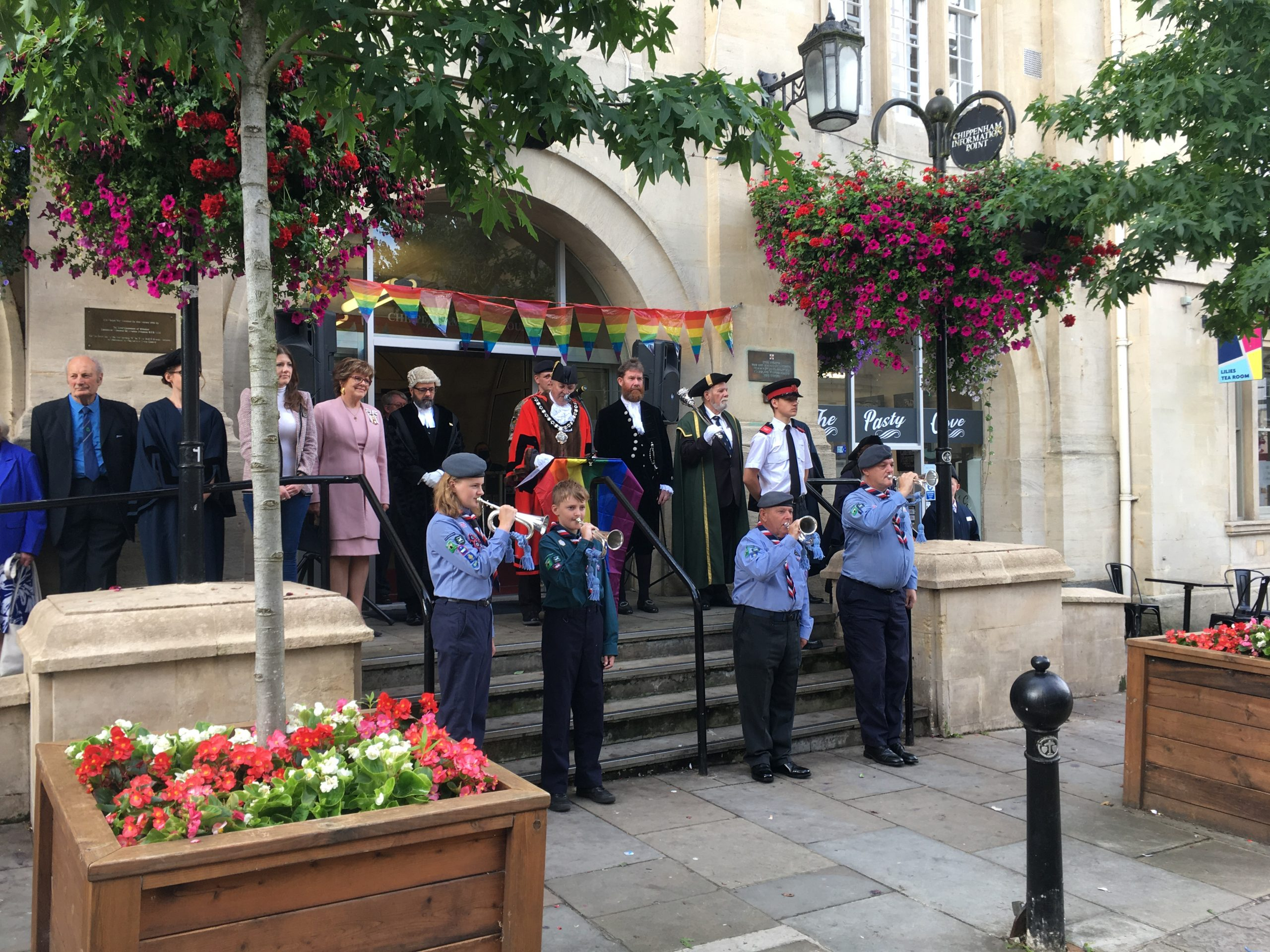 Group shot outside the Town Hall on Wiltshire and Swindon Pride Day