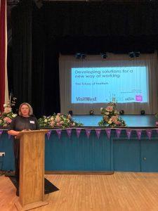 Guest speaker Kathryn Davis speaking at Purple Flag event